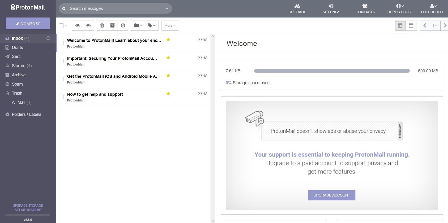 Serviços de email   Protonmail
