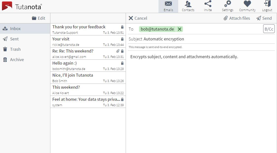 Serviços de email   Tutanota