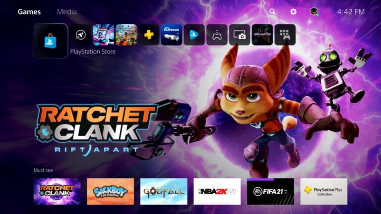 PS PS5 HOME SCREEN